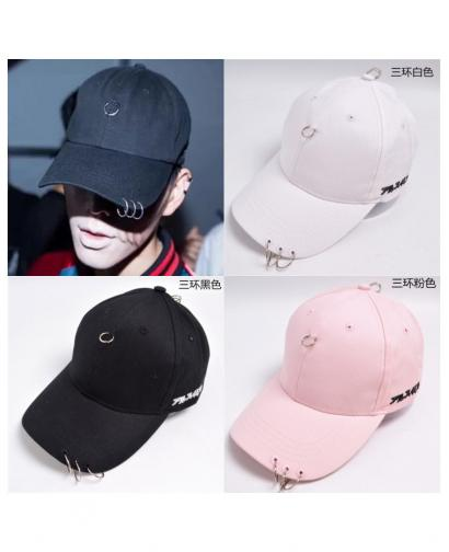 Fashion Women and Men Triple Iron Rings Cap Black/Pink/White