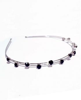 Korea Fashion Full Circle Black Rhinestones Silver Hair Accessories