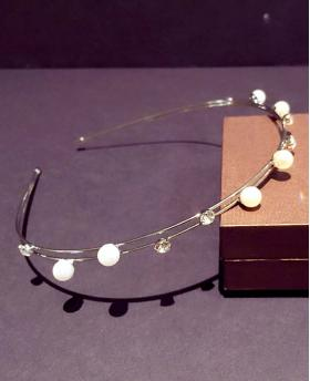 Korea Fashion Pearl With Rhinestone Double Silver Hair Accessories