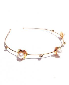 Korea Fashion Rose Flower Pearl With Rhinestone Gold Hair Accessories
