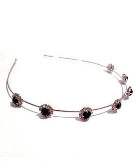 Korea Fashion Black Rhinestone Plum Flower Silver Hair Accessories