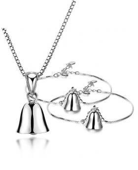 Fashion S925 Silver Bell Necklace, Bracelet and Were Set