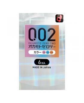 Japan OKAMOTO 002 0.02mm 3 Colors Polyurethane Condoms 6 pcs