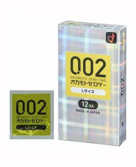 Okamoto 002 Zero Two box Condoms Zero-Two Excellent Size Large 12 Pcs
