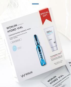 Korea WONJIN EFFECT Medi Hydro Vial Mask Concentrated Ampoule Moisturize 10 pieces  + Cleansing Foam Set