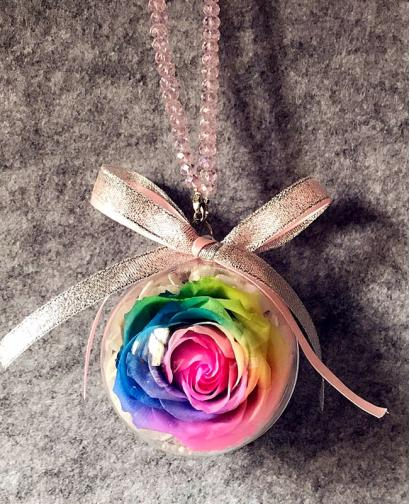 Preserved Fresh Rainbow Roses Immortal Flower Car Pendants