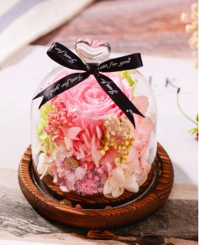 Preserved Fresh Pink Roses Immortal Flower Glasses Gift Box