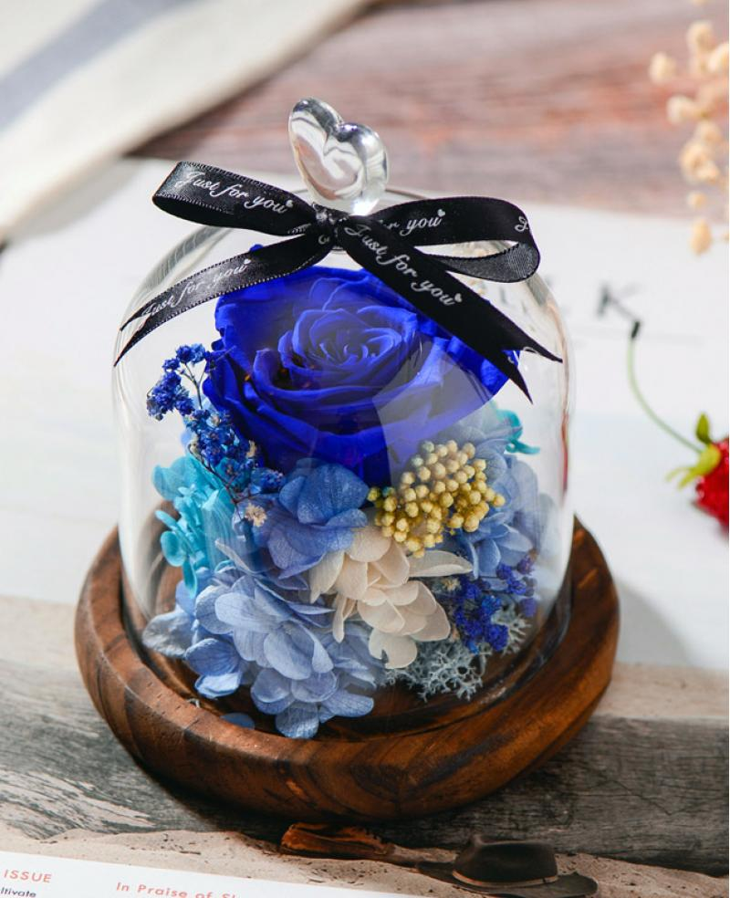 Preserved Fresh Blue Roses Immortal Flower Glasses Gift Box
