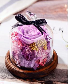 Preserved Fresh Alice Purple Roses Immortal Flower Glasses Gift Box