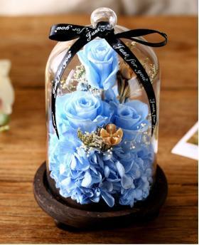 Preserved Fresh Light Blue Roses Immortal Flower Glasses Gift Box