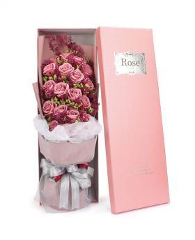 Preserved Fresh Gypsophila + 19 Stems of Pink Roses Immortal Soap Flower