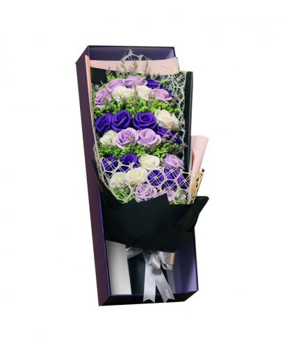 Preserved Fresh 33 Stems of Mixed Purple Roses Immortal Soap Flower