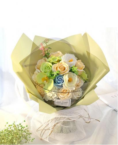 Preserved Fresh 18 Stems of Mixed Champagne Roses Immortal Soap Flower with Lights