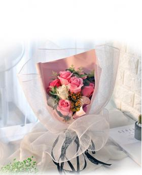 Preserved Fresh 11 Stems of Mixed Pink Roses Immortal Soap Flower with Lights