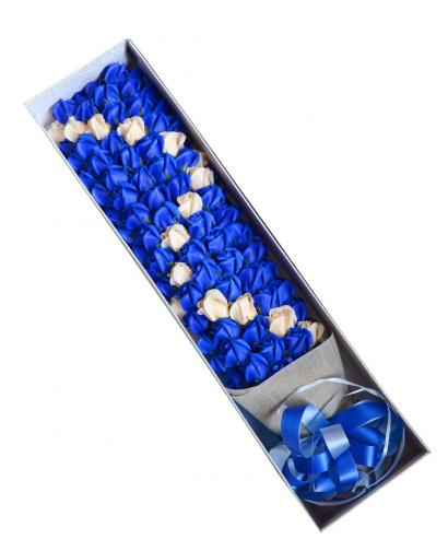 Preserved Fresh 99 Stems of Royal Blue Roses Immortal Soap Flower