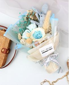 Preserved Mixed Sky Blue Roses Immortal Soap Flower