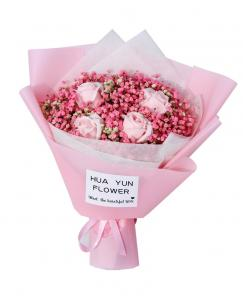 Preserved Fresh Gypsophila + Pink Roses Immortal Soap Flower