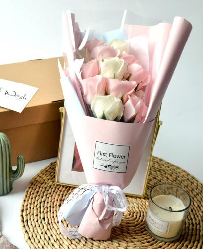 Preserved Pink Roses + White Roses Immortal Soap Flower