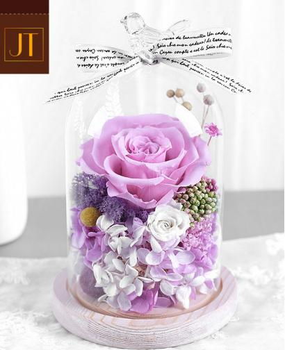 Preserved Fresh Love Purple Pink Roses Immortal Flower Glass Gift Box