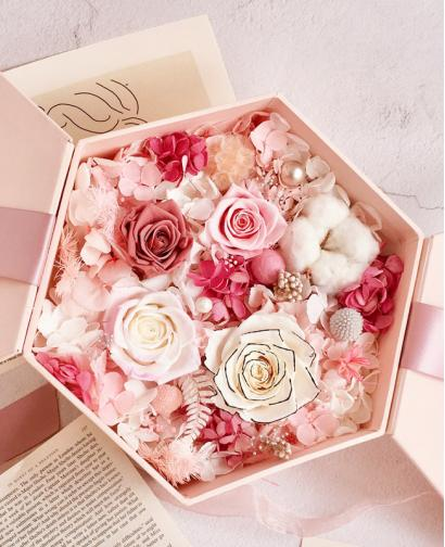 Preserved Fresh Multi-color Pink Roses Immortal Flower Gift Box