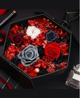 Preserved Fresh Multi-color Red Roses Immortal Flower Gift Box