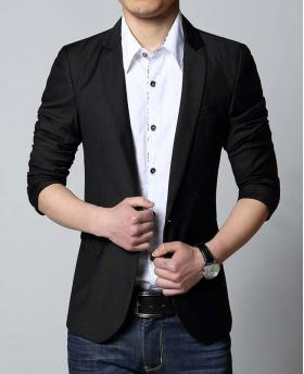 Fashion Men's One Button Business Black Blazer