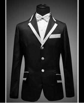 Men's Black with White Collar Black and White Wedding Dress Tuxedo  (Include Pants)
