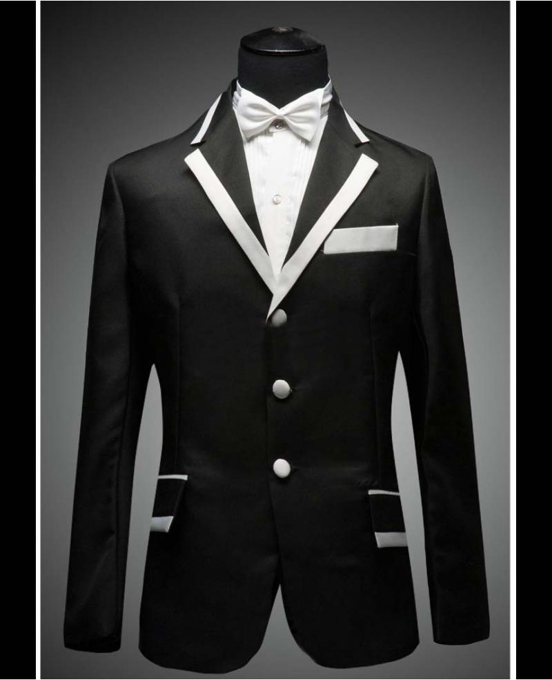 Men S Black With White Collar Black And White Wedding Dress Tuxedo Include Pants