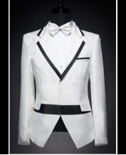 Men's White with Black Collar White Wedding Dress Tuxedo  (Include Pants)