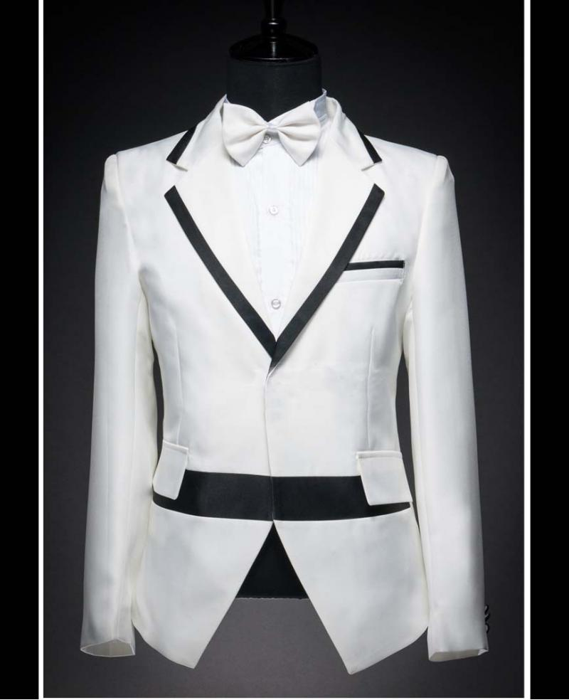 Mens White With Black Collar Wedding Dress Tuxedo Include Pants