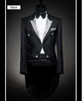 Men's Sliver Collar Black and White Wedding Dress Tuxedo (Include Pants)