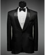 Men's Black Curved Collar Tuxedo Dress (Include Pants)