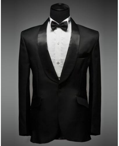 Men's Black Curved Collar Tuxedo Dress (Include Pants)