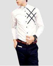 Fashion Men's Woven Striped Slim White Shirt