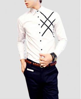 Fashion Men's Woven Striped Slim White Shirt