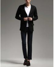 Asian Men's Clothing Stretch Knit Casual Slim Blazer
