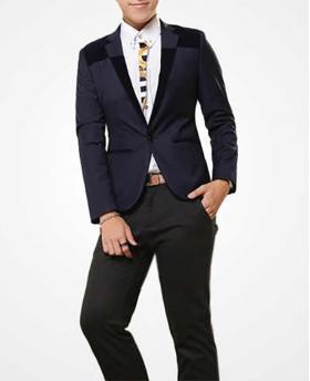 Fashion British Style Men's Corduroy Collar Casual Slim Blazer