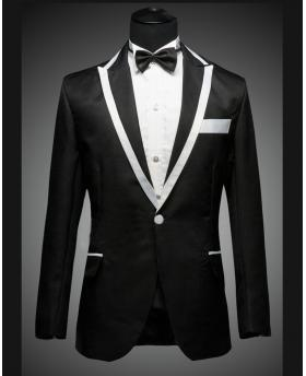 Men's White Edge Collar Black Tuxedo Dress (Include Pants)