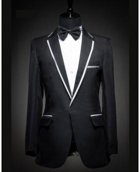 Men's Silver Straight Edge Collar Tuxedo Dress (Include Pants)