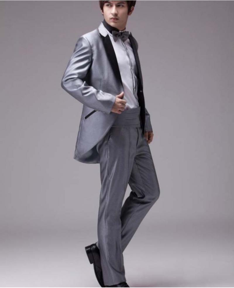 Men's Fashion Silver Grey Reflective Surface Wedding Tuxedo ...