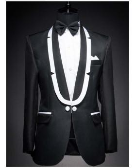 Men's White Curved Collar Black Wedding Blazer Tuxedo (Include Pants)