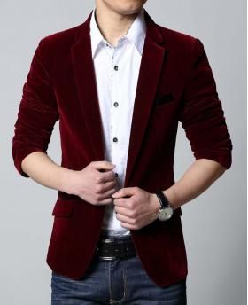 Fashion Men's Velveteen Business Blazer