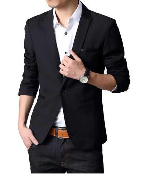 Korean Clothing Fashion Men's Slim Black Blazer