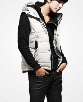 Men's Slim Black and White Cotton Vest