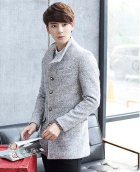 Korean Fashion Men's Woolen Jacket Coat