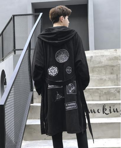 Spring Autumn Men Suede Over the Knee Hooded Long Style Unique Embroidery Thin Cloak Coat