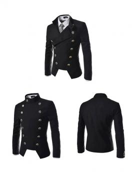 Fashion Men's Double-breasted Button Design Casual Slim Suit Blazer Jacket
