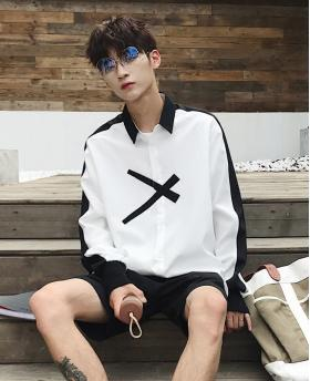 Fashion Men's Clothing Long Sleeve White Thin Shirt