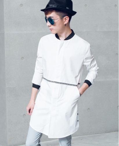 Fashion Men's Japan Style Long Style White Shirt