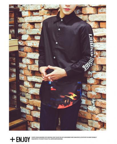 Spring Autumn Fashion Men Long Style Long Sleeve Slim Shirt